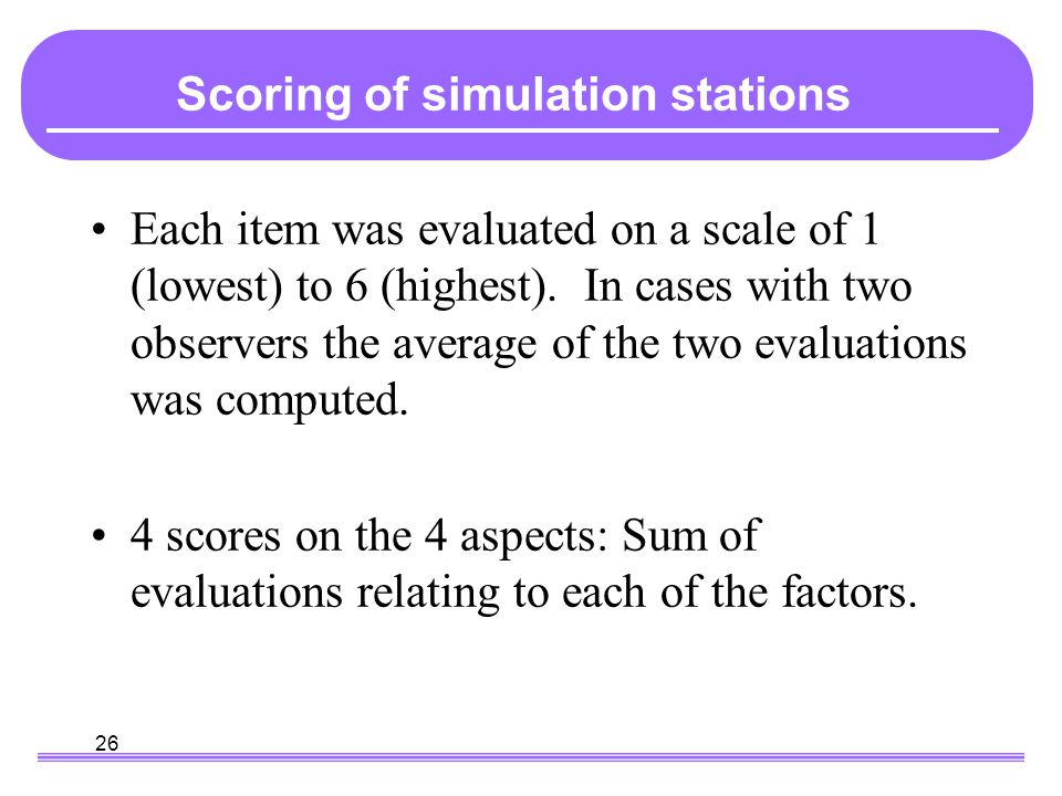 26 Scoring the Each item was evaluated on a scale of 1 (lowest) to 6 (highest). In cases with two observers the average of the two evaluations was com