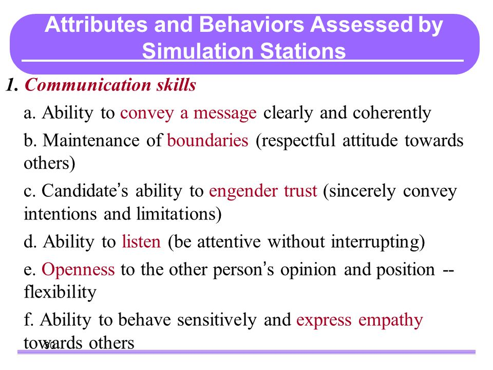 30 What Do the Simulations Assess. 1. Communication skills a.