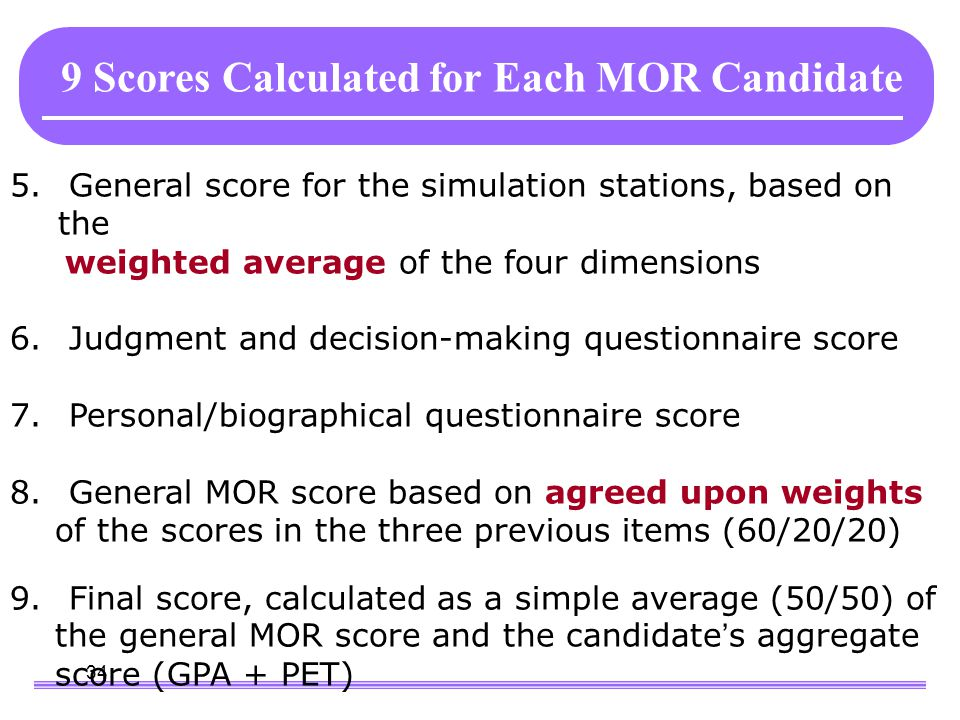 34 9 Scores Calculated for Each MOR Candidate 5. General score for the simulation stations, based on the weighted average of the four dimensions 6. Ju