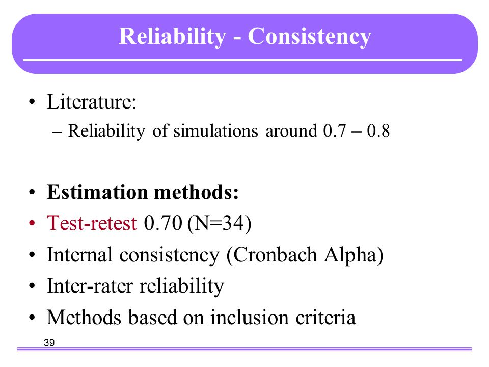 39 Reliability - Consistency Literature: –Reliability of simulations around 0.7 – 0.8 Estimation methods: Test-retest 0.70 (N=34) Internal consistency