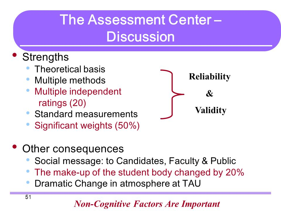 51 The Assessment Center – Discussion Strengths Theoretical basis Multiple methods Multiple independent ratings (20) Standard measurements Significant weights (50%) Other consequences Social message: to Candidates, Faculty & Public The make-up of the student body changed by 20% Dramatic Change in atmosphere at TAU Non-Cognitive Factors Are Important Reliability & Validity