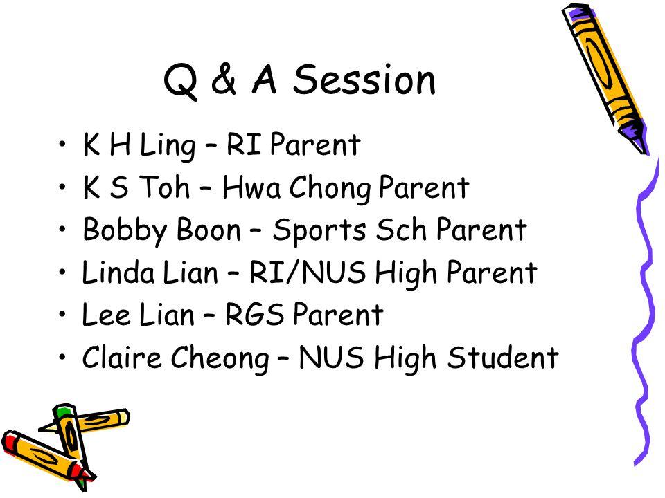 Q & A Session K H Ling – RI Parent K S Toh – Hwa Chong Parent Bobby Boon – Sports Sch Parent Linda Lian – RI/NUS High Parent Lee Lian – RGS Parent Claire Cheong – NUS High Student