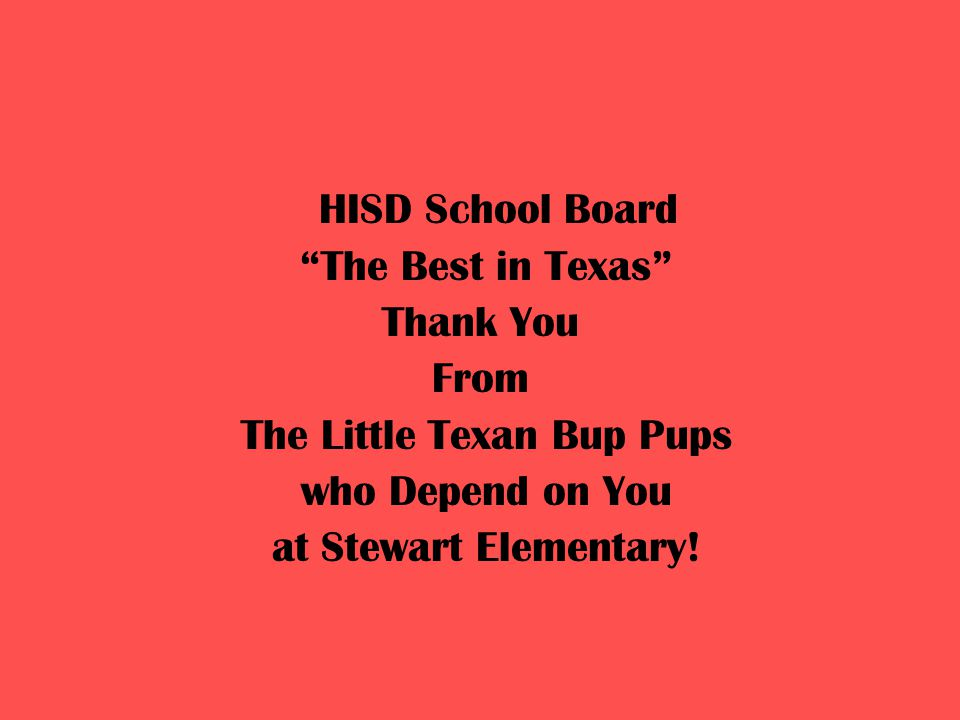 HISD School Board The Best in Texas Thank You From The Little Texan Bup Pups who Depend on You at Stewart Elementary!