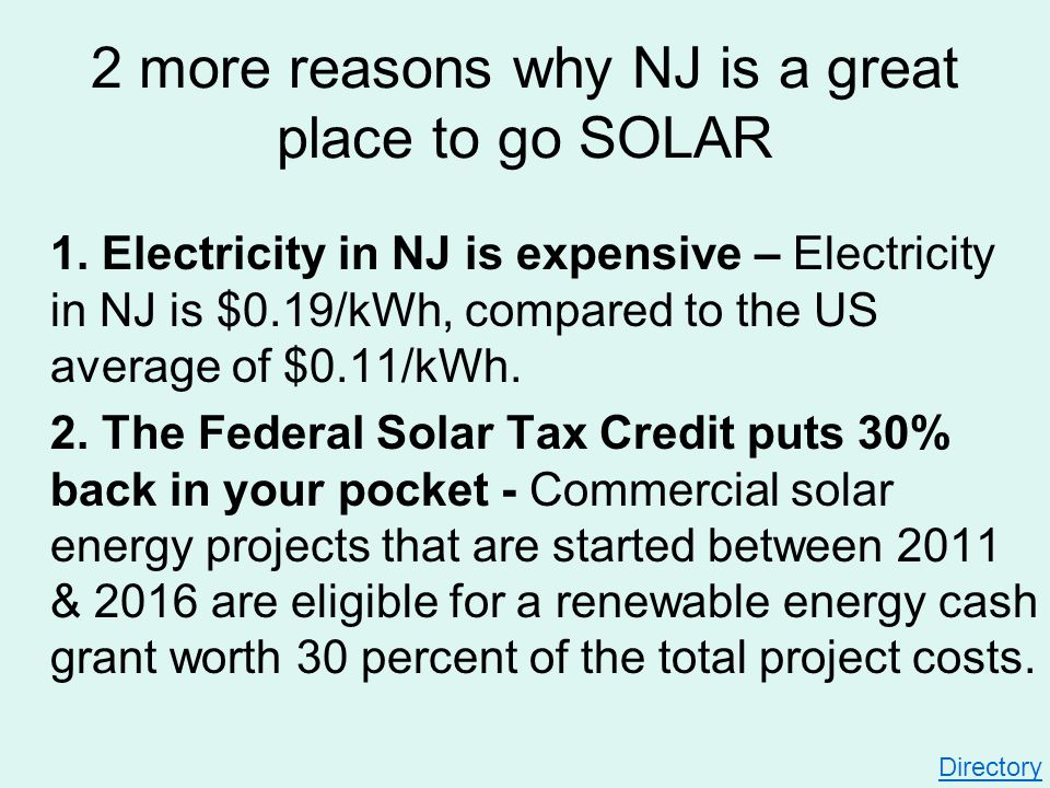 1. Electricity in NJ is expensive – Electricity in NJ is $0.19/kWh, compared to the US average of $0.11/kWh. 2. The Federal Solar Tax Credit puts 30%