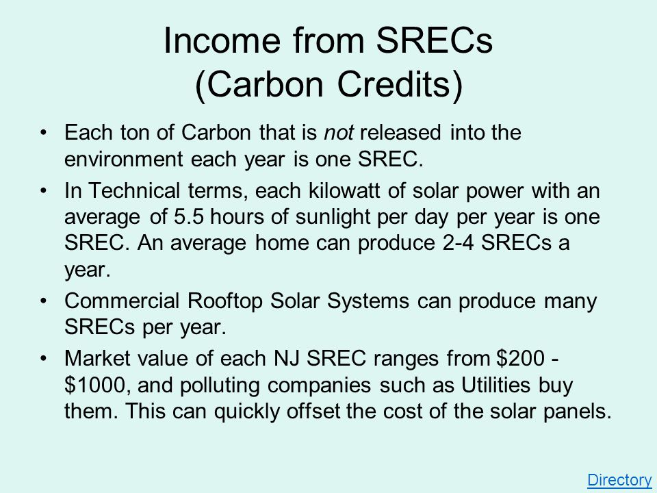 Income from SRECs (Carbon Credits) Each ton of Carbon that is not released into the environment each year is one SREC. In Technical terms, each kilowa