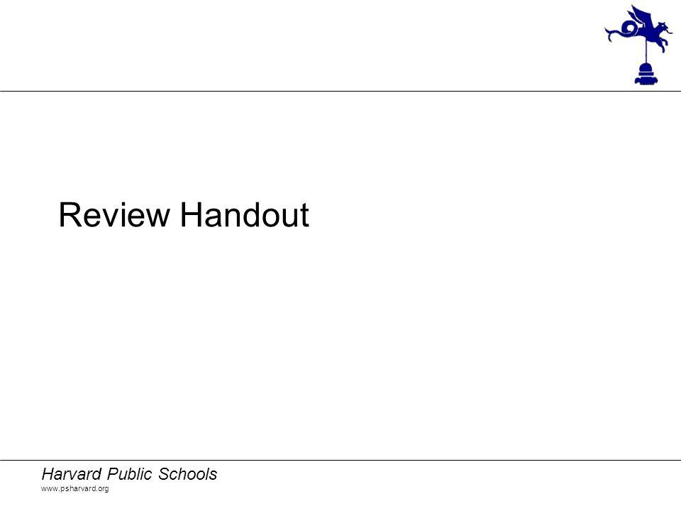 Harvard Public Schools www.psharvard.org Review Handout