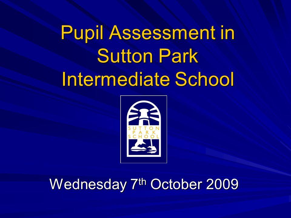 Pupil Assessment in Sutton Park Intermediate School Wednesday 7 th October 2009