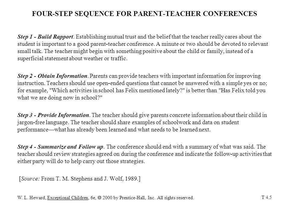 FOUR-STEP SEQUENCE FOR PARENT-TEACHER CONFERENCES Step 1 - Build Rapport.