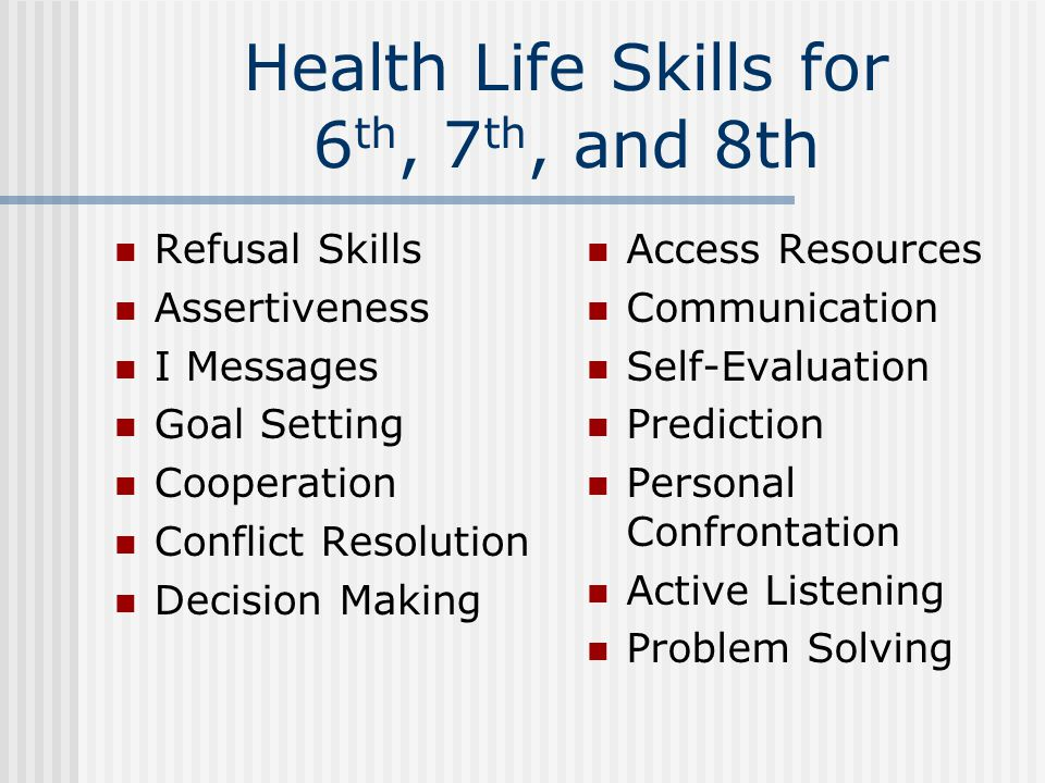 Health Life Skills for 6 th, 7 th, and 8th Refusal Skills Assertiveness I Messages Goal Setting Cooperation Conflict Resolution Decision Making Access