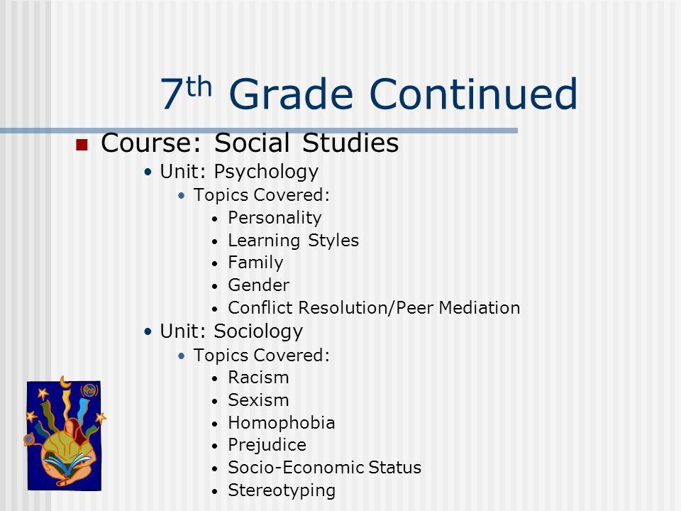 7 th Grade Continued Course: Social Studies Unit: Psychology Topics Covered: Personality Learning Styles Family Gender Conflict Resolution/Peer Mediat