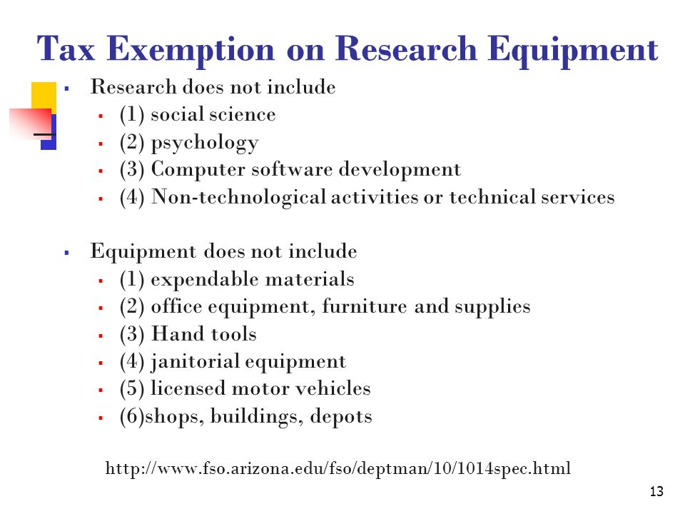 13 Tax Exemption on Research Equipment  Research does not include  (1) social science  (2) psychology  (3) Computer software development  (4) Non