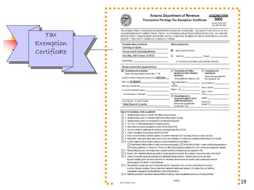 19 Tax Exemption Certificate