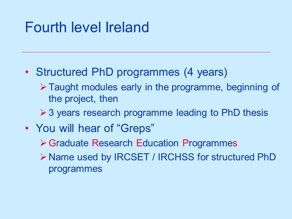 Fourth level Ireland Structured PhD programmes (4 years)  Taught modules early in the programme, beginning of the project, then  3 years research programme leading to PhD thesis You will hear of Greps  Graduate Research Education Programmes  Name used by IRCSET / IRCHSS for structured PhD programmes