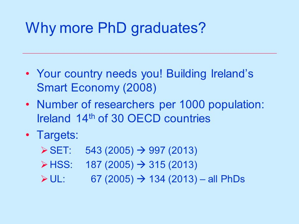 Why more PhD graduates. Your country needs you.