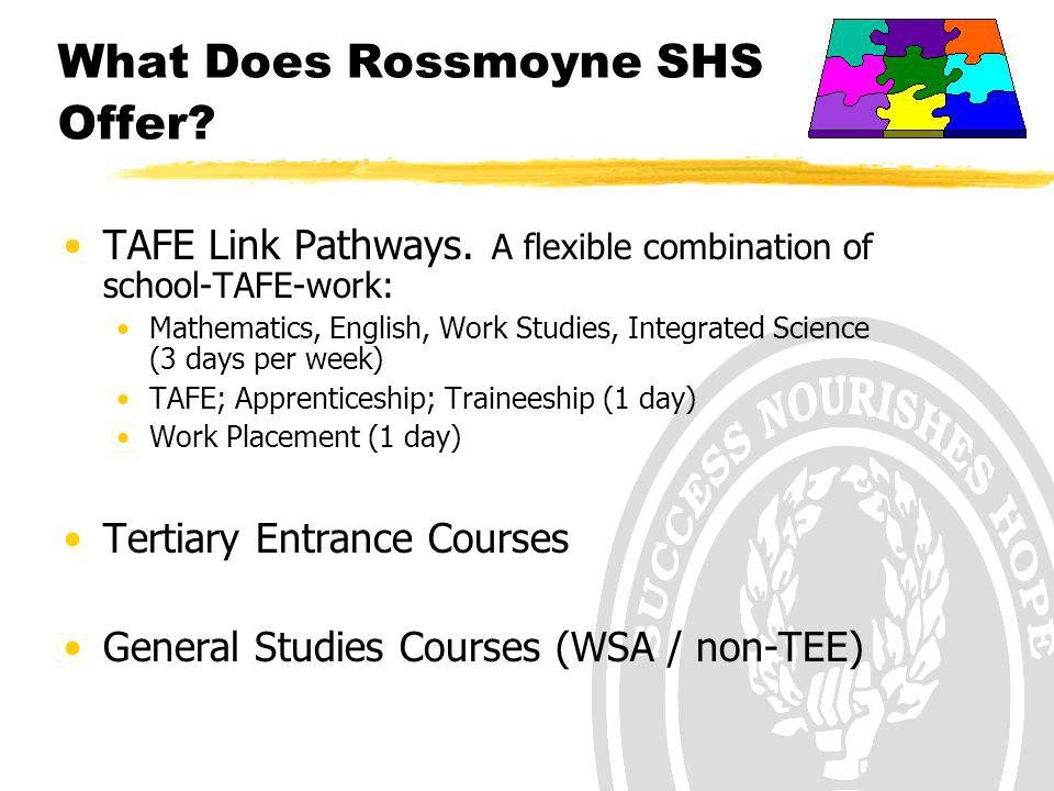 What Does Rossmoyne SHS Offer? TAFE Link Pathways. A flexible combination of school-TAFE-work: Mathematics, English, Work Studies, Integrated Science