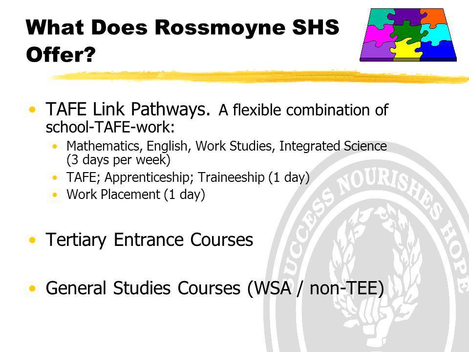 What Does Rossmoyne SHS Offer. TAFE Link Pathways.