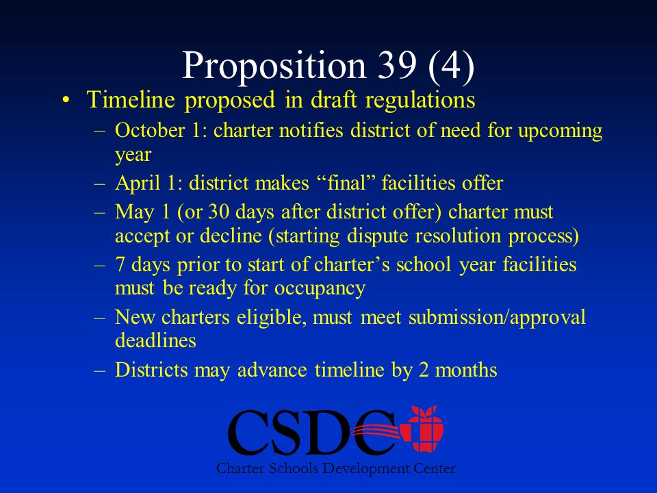 CSDC Charter Schools Development Center Proposition 39 (4) Timeline proposed in draft regulations –October 1: charter notifies district of need for upcoming year –April 1: district makes final facilities offer –May 1 (or 30 days after district offer) charter must accept or decline (starting dispute resolution process) –7 days prior to start of charter's school year facilities must be ready for occupancy –New charters eligible, must meet submission/approval deadlines –Districts may advance timeline by 2 months