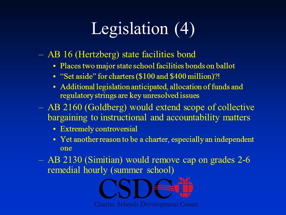 CSDC Charter Schools Development Center Legislation (4) –AB 16 (Hertzberg) state facilities bond Places two major state school facilities bonds on ballot Set aside for charters ($100 and $400 million) .