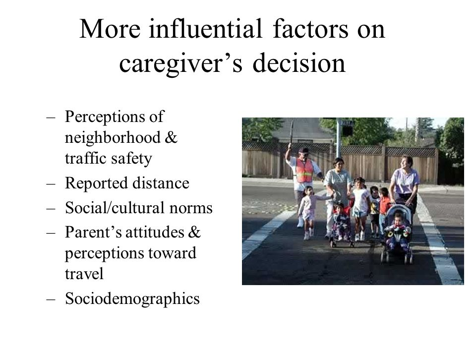 More influential factors on caregiver's decision –Perceptions of neighborhood & traffic safety –Reported distance –Social/cultural norms –Parent's att