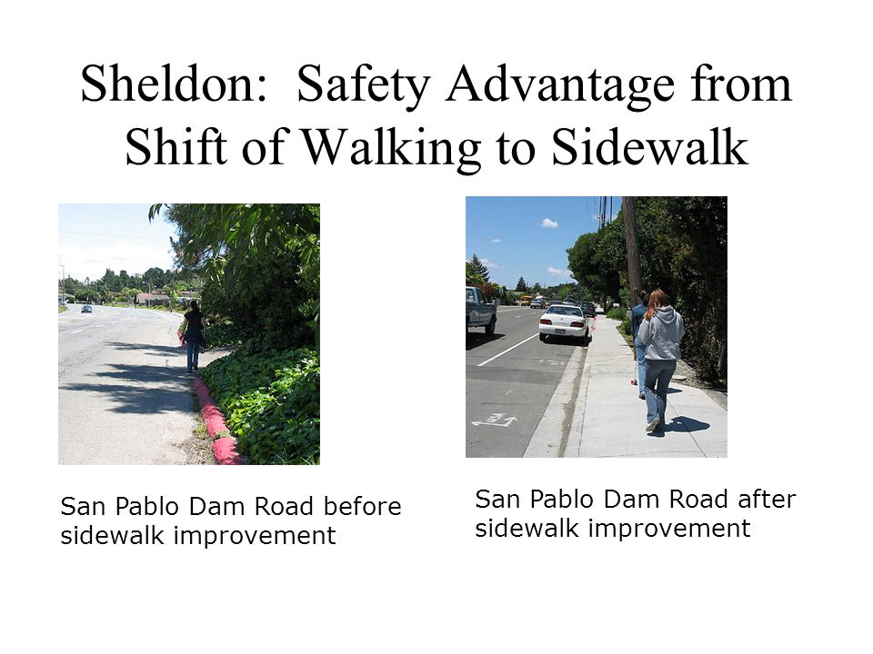 Sheldon: Safety Advantage from Shift of Walking to Sidewalk San Pablo Dam Road after sidewalk improvement San Pablo Dam Road before sidewalk improvement