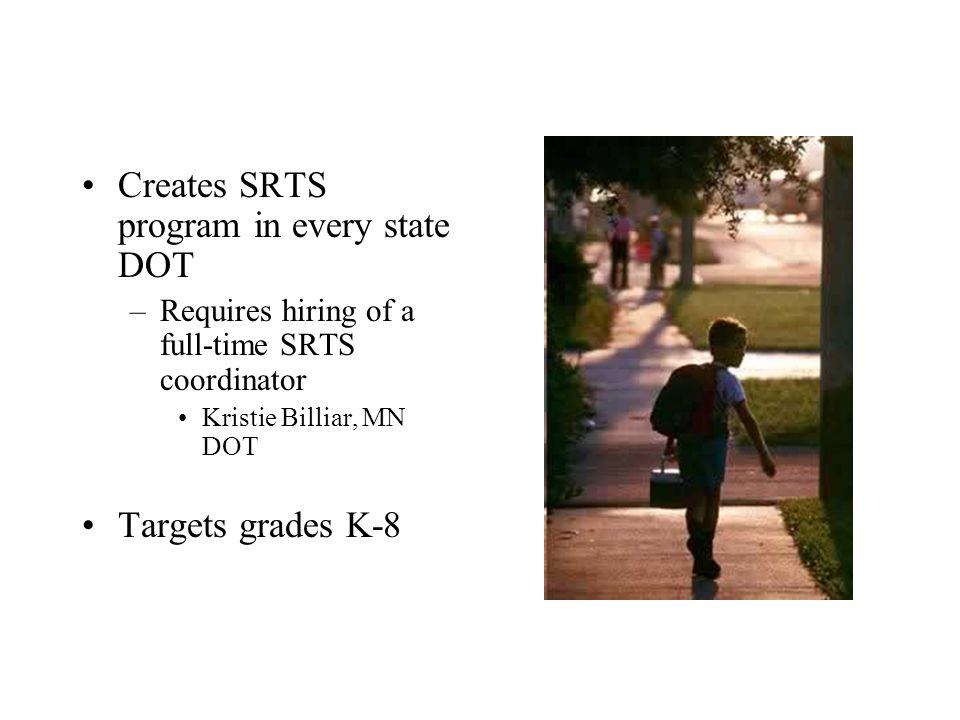 Creates SRTS program in every state DOT –Requires hiring of a full-time SRTS coordinator Kristie Billiar, MN DOT Targets grades K-8