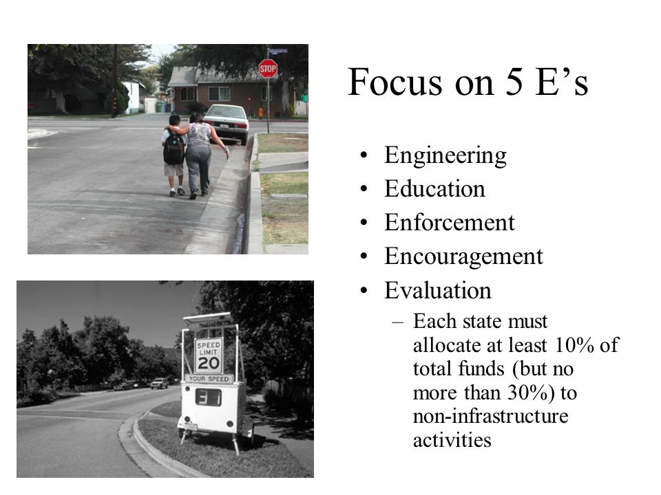 Focus on 5 E's Engineering Education Enforcement Encouragement Evaluation –Each state must allocate at least 10% of total funds (but no more than 30%)
