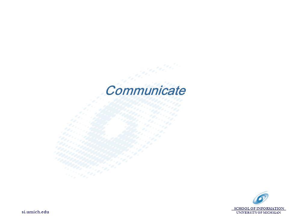 SCHOOL OF INFORMATION UNIVERSITY OF MICHIGAN si.umich.edu Communicate