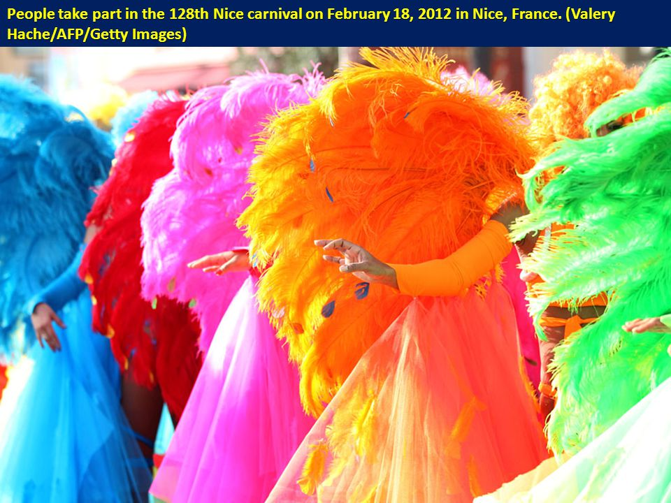 People take part in the 128th Nice carnival on February 18, 2012 in Nice, France.