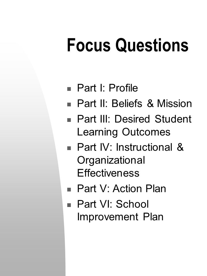 Focus Questions Part I: Profile Part II: Beliefs & Mission Part III: Desired Student Learning Outcomes Part IV: Instructional & Organizational Effectiveness Part V: Action Plan Part VI: School Improvement Plan