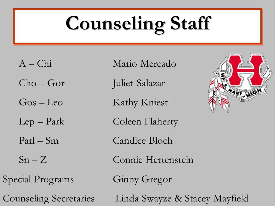 Counseling Staff A – ChiMario Mercado Cho – GorJuliet Salazar Gos – LeoKathy Kniest Lep – ParkColeen Flaherty Parl – SmCandice Bloch Sn – ZConnie Hertenstein Special ProgramsGinny Gregor Counseling Secretaries Linda Swayze & Stacey Mayfield
