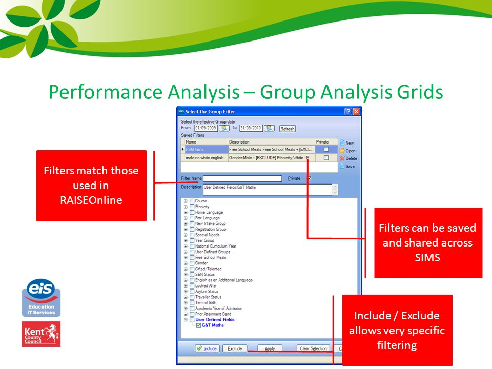 Performance Analysis – Group Analysis Grids Include / Exclude allows very specific filtering Filters match those used in RAISEOnline Filters can be sa