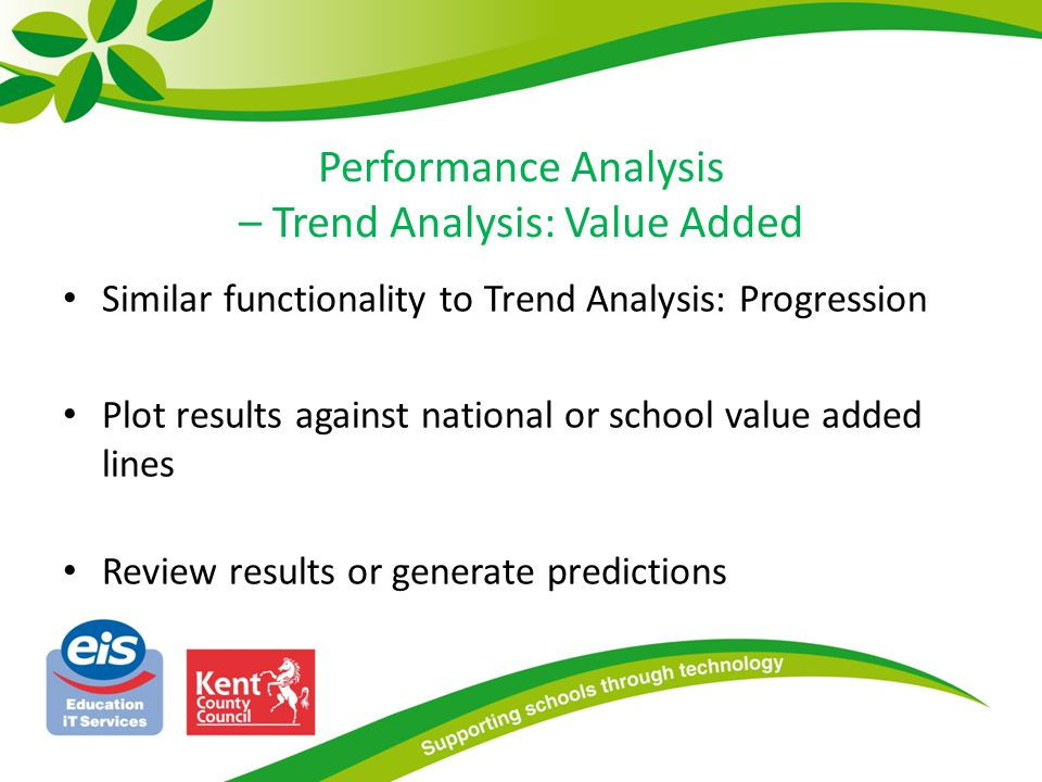 Performance Analysis – Trend Analysis: Value Added Similar functionality to Trend Analysis: Progression Plot results against national or school value