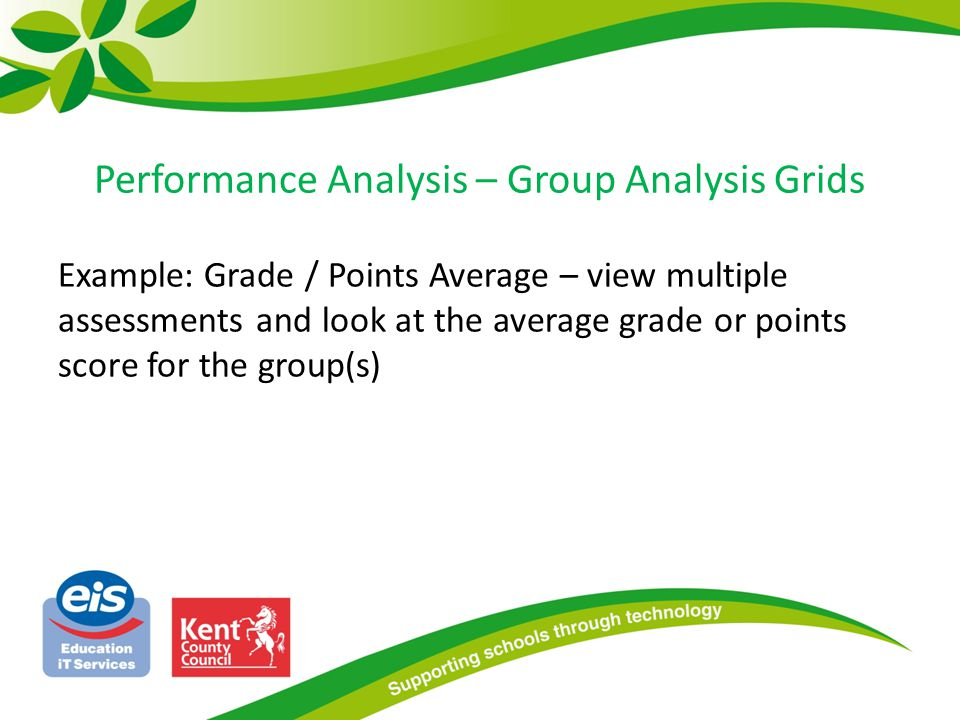 Performance Analysis – Group Analysis Grids Example: Grade / Points Average – view multiple assessments and look at the average grade or points score