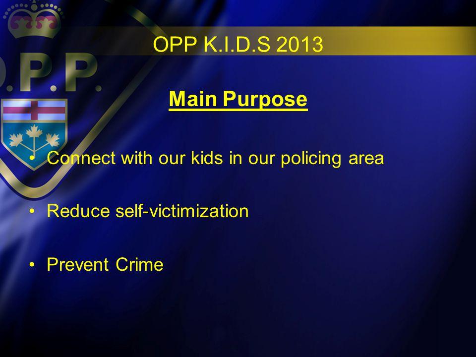OPP K.I.D.S 2013 Details of Program 9-10 weeks in length (50 min.