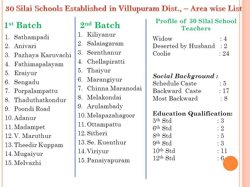 1 st Batch2 nd Batch 1.Sathampadi 2.Anivari 3.Pazhaya Karuvachi 4.Fathimapalayam 5.Eraiyur 6.Sengadu 7.Porpalampattu 8.Thaduthatkondur 9.Poondi Road 1