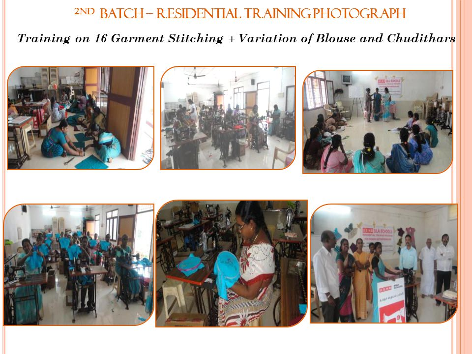 2nd Batch – Residential Training Photograph Training on 16 Garment Stitching + Variation of Blouse and Chudithars