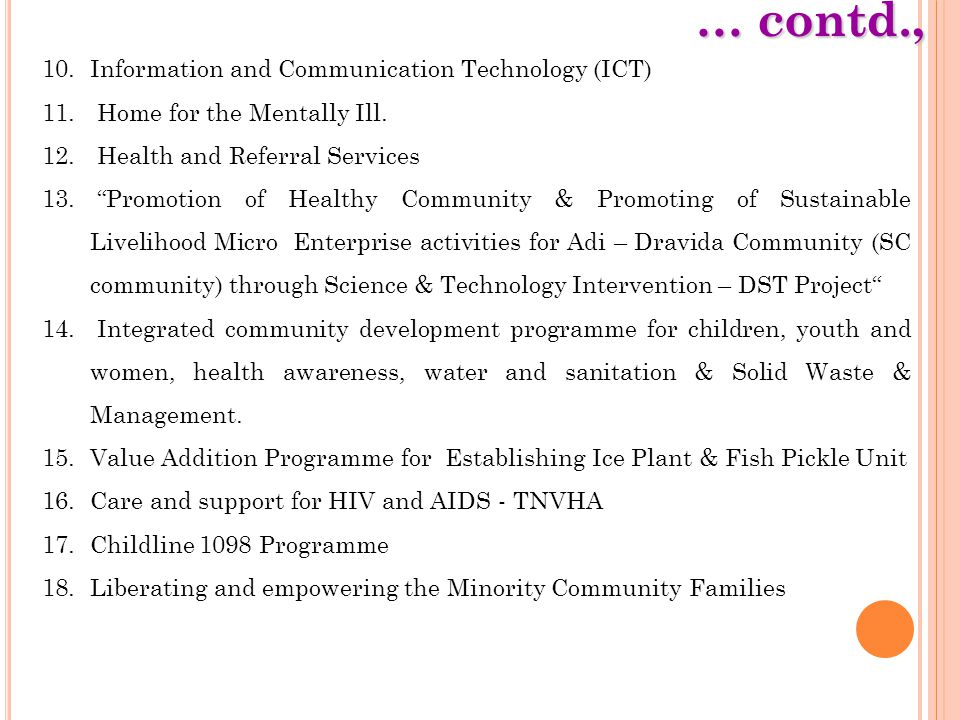"""… contd., 10.Information and Communication Technology (ICT) 11. Home for the Mentally Ill. 12. Health and Referral Services 13. """"Promotion of Healthy"""