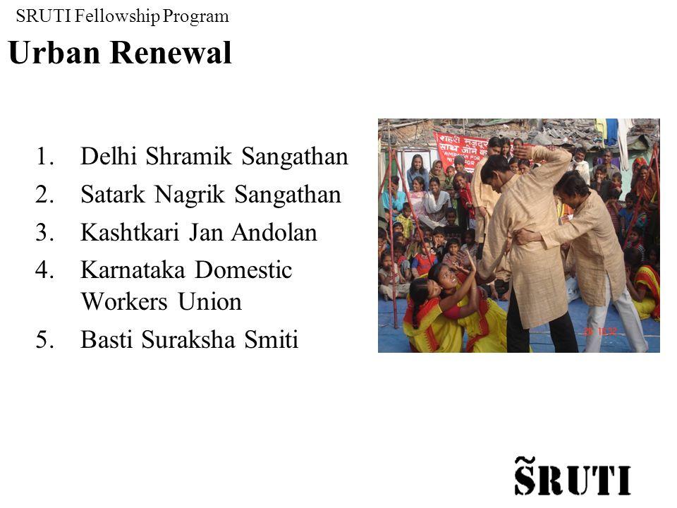 SRUTI Fellowship Program Urban Renewal 1.Delhi Shramik Sangathan 2.Satark Nagrik Sangathan 3.Kashtkari Jan Andolan 4.Karnataka Domestic Workers Union 5.Basti Suraksha Smiti