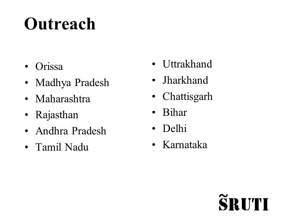 Outreach Orissa Madhya Pradesh Maharashtra Rajasthan Andhra Pradesh Tamil Nadu Uttrakhand Jharkhand Chattisgarh Bihar Delhi Karnataka
