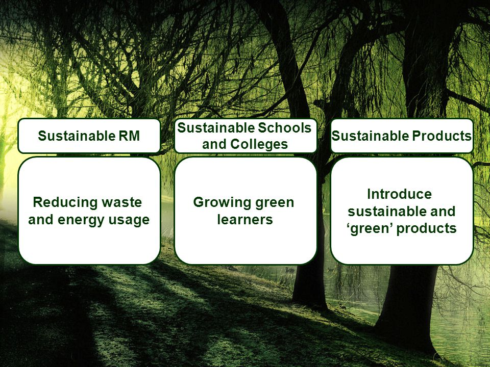 Sustainable Products Introduce sustainable and 'green' products Sustainable Schools and Colleges Growing green learners Sustainable RM Reducing waste