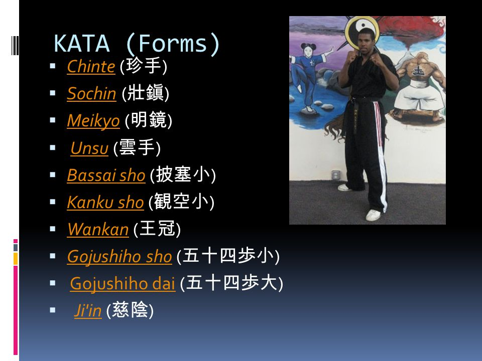 KUMITE (Sparring) 11-Five-step sparring (gohon kumite) 22-Three-step sparring (sanbon kumite) 33-One-step sparring (ippon kumite) 44-freestyle one-step sparring (jiyu ippon kumite) 55-Free sparring (jiyu kumite)