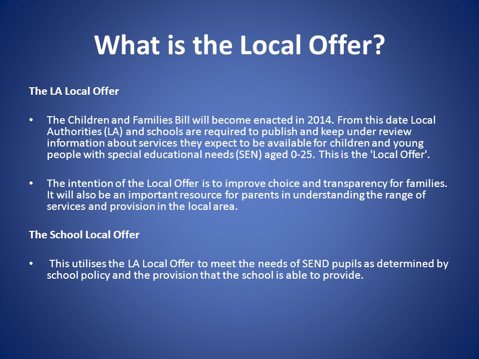 What is the Local Offer.