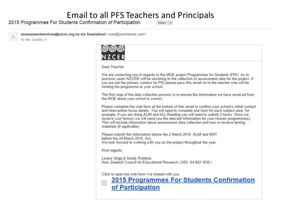 Email to all PFS Teachers and Principals