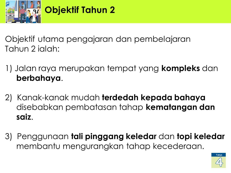 Objektif Tahun 2 Objektif utama pengajaran dan pembelajaran Tahun 2 ialah: 1) Jalan raya merupakan tempat yang kompleks dan berbahaya. 2) Kanak-kanak