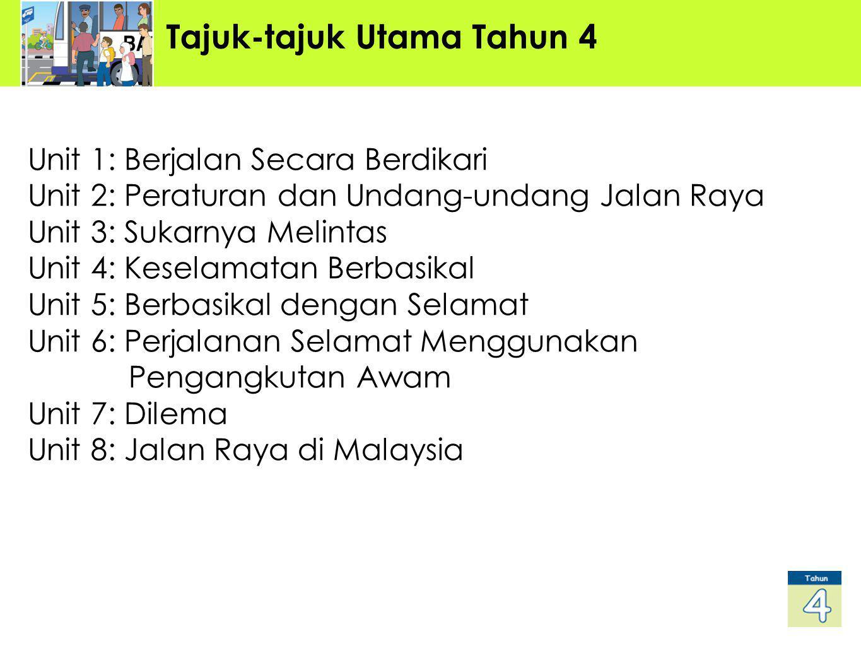 Tajuk-tajuk Utama Tahun 4 Unit 1: Berjalan Secara Berdikari Unit 2: Peraturan dan Undang-undang Jalan Raya Unit 3: Sukarnya Melintas Unit 4: Keselamatan Berbasikal Unit 5: Berbasikal dengan Selamat Unit 6: Perjalanan Selamat Menggunakan Pengangkutan Awam Unit 7: Dilema Unit 8: Jalan Raya di Malaysia