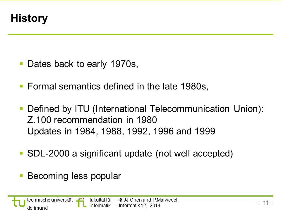 - 11 - technische universität dortmund fakultät für informatik  JJ Chen and P.Marwedel, Informatik 12, 2014 History  Dates back to early 1970s,  Fo