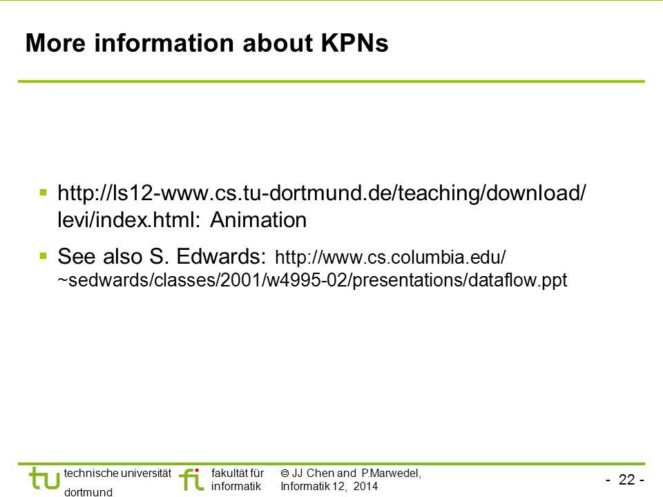 - 22 - technische universität dortmund fakultät für informatik  JJ Chen and P.Marwedel, Informatik 12, 2014 More information about KPNs  http://ls12
