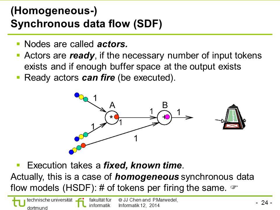 - 24 - technische universität dortmund fakultät für informatik  JJ Chen and P.Marwedel, Informatik 12, 2014 (Homogeneous-) Synchronous data flow (SDF