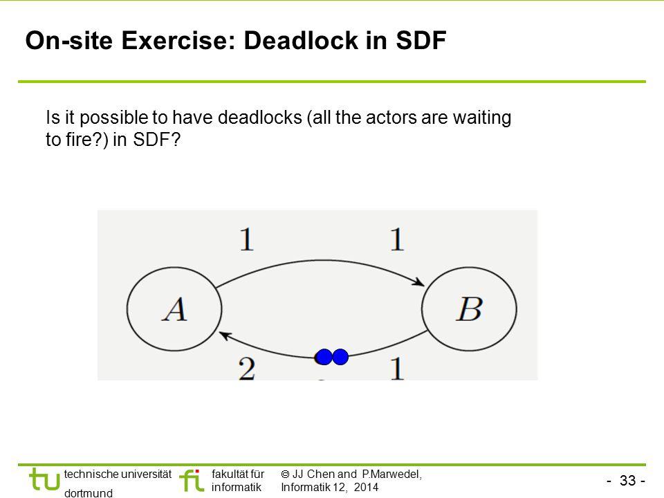 - 33 - technische universität dortmund fakultät für informatik  JJ Chen and P.Marwedel, Informatik 12, 2014 On-site Exercise: Deadlock in SDF Is it p