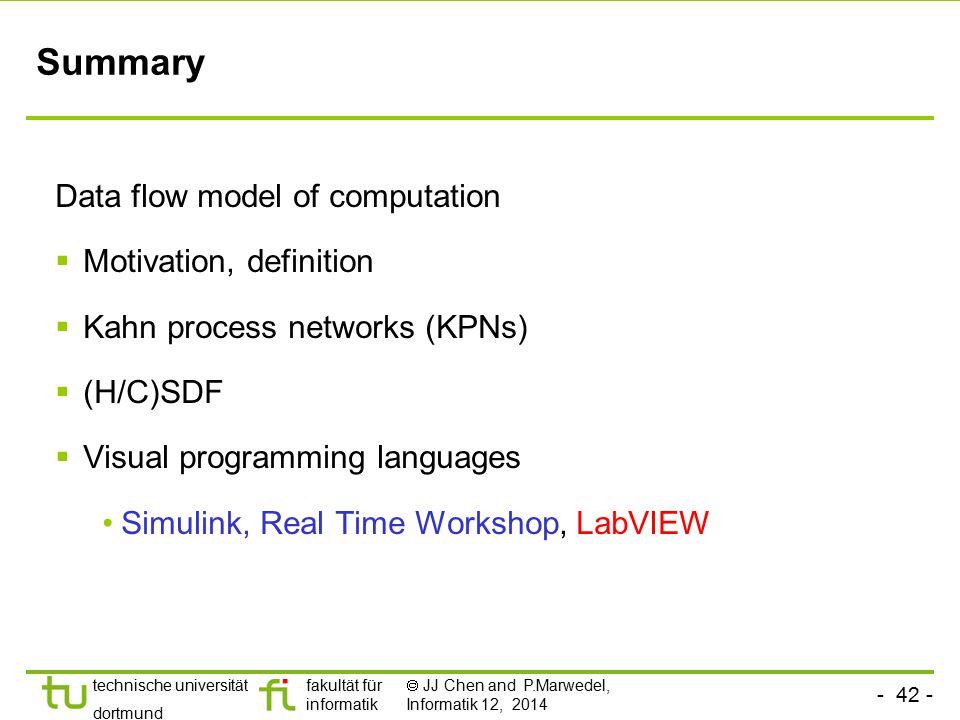 - 42 - technische universität dortmund fakultät für informatik  JJ Chen and P.Marwedel, Informatik 12, 2014 Summary Data flow model of computation 